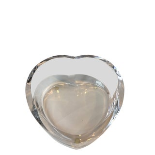 Orrefors Heart Shaped Crystal Bowl For Sale