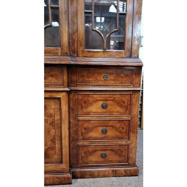 Brown 20th Century English Traditional Glazed Walnut Breakfront Cabinet For Sale - Image 8 of 13