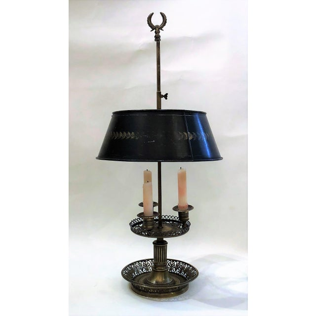 English Traditional Antique Bronze Early 19th Century Desk Lamp with Fine Openwork and Detail For Sale - Image 3 of 3