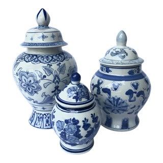 Blue and White Porcelain Jars - Set of 3 For Sale