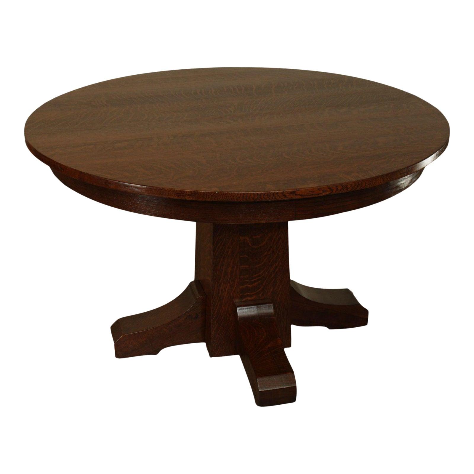 L J G Stickley Antique Mission Oak Arts Crafts 48 Round Pedestal Dining Table Chairish