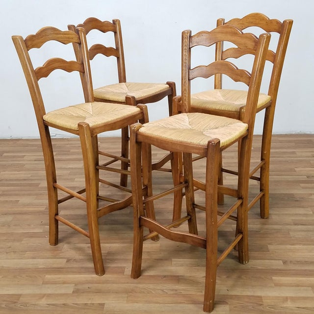 2010s Italian Rattan and Wicker Barstools - Set of 4 For Sale - Image 5 of 13