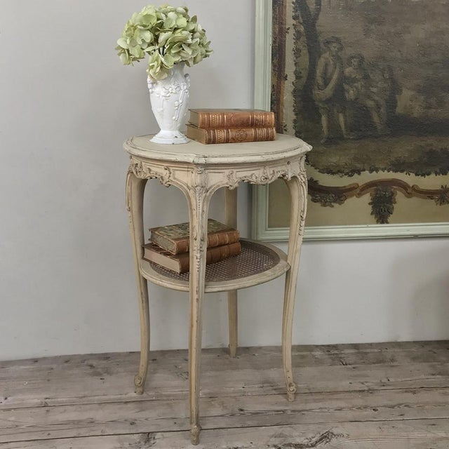 19th Century French Louis XVI Painted Oval End Table For Sale - Image 12 of 13