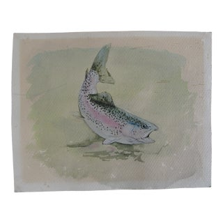 Vintage Watercolor Painting of a Speckled Trout For Sale