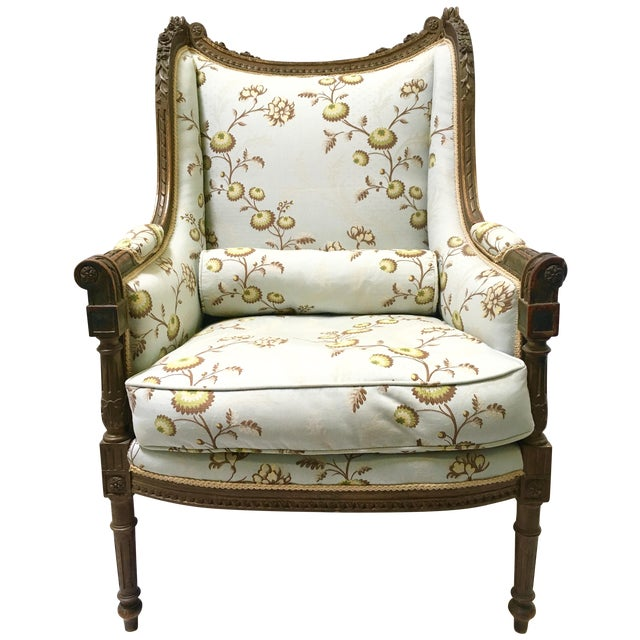 Antique French Wingback Chair - Image 1 of 9