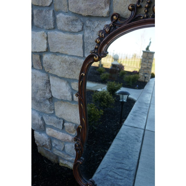 Mid 20th Century Vintage French Provincial Carved Wood Framed Mirror For Sale - Image 5 of 8