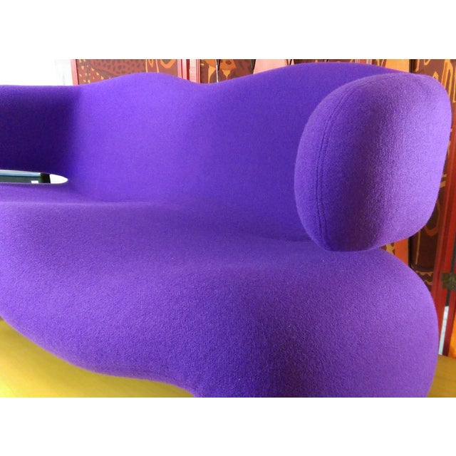 "1966 Olivier Mourgue ""Djinn"" Purple Wool Upholstered Sofa For Sale - Image 9 of 13"
