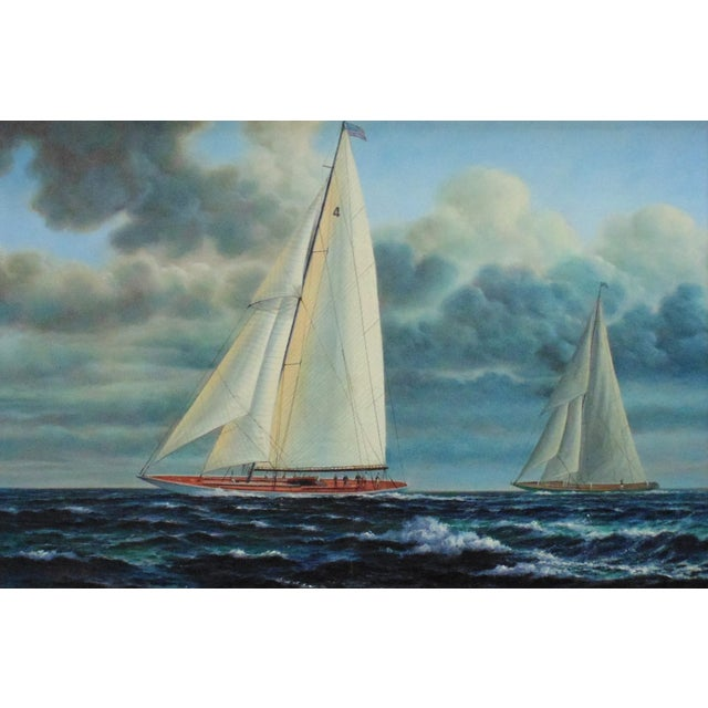This is a LARGE painting of two schooners by J. Gloguen (20th c., American). Listed artist. Signed lower left. Oil on...
