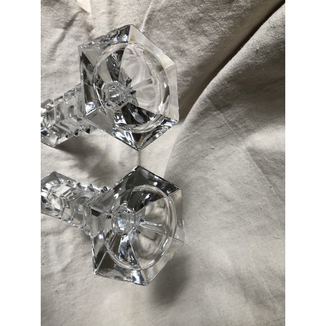 1990s 1990s Crystal Geometric Candle Holders - a Pair For Sale - Image 5 of 6