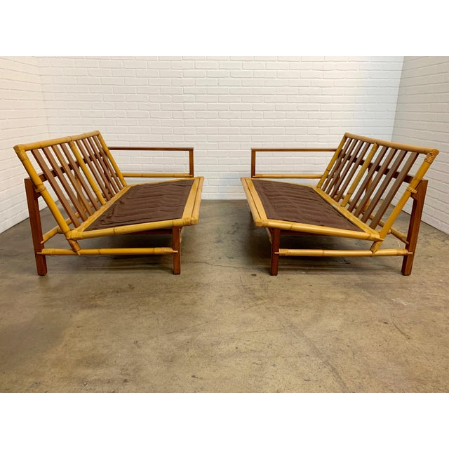 Vintage Ficks Reed Walnut With Rattan Sectional Sofas - A Pair For Sale - Image 10 of 12