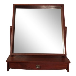 Danish Teak Mirror With Draw For Sale