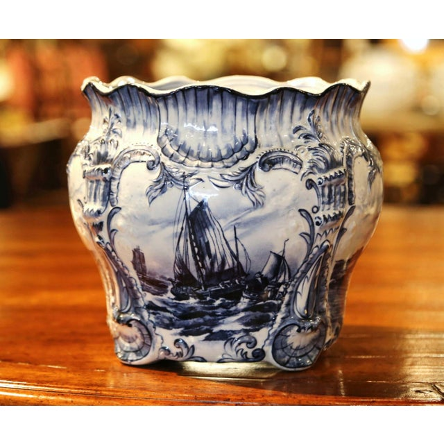Large 19th Century Dutch Hand-Painted Blue and White Ceramic Delft Cachepot For Sale - Image 10 of 10