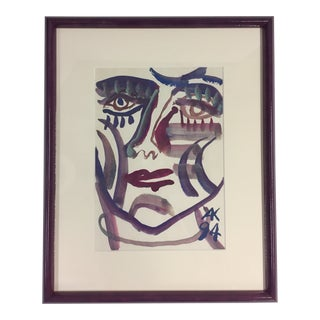 1994 A. Kotzev Abstract Female Portrait Painting For Sale