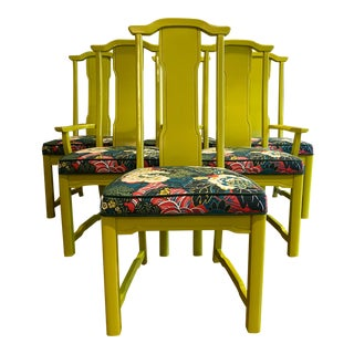 Chartreuse Asian Style Dining Chairs - Set of 6 For Sale