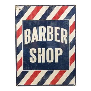 Vintage Striped Metal Barber Shop Sign