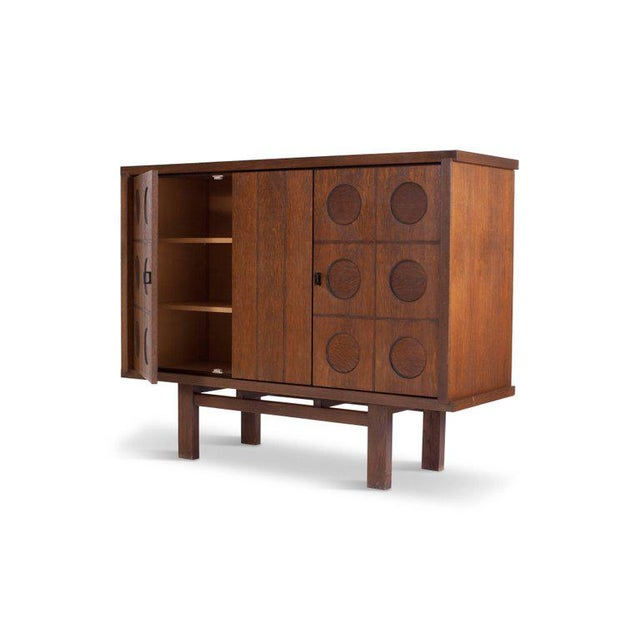 1970s Midcentury Belgian Brutalist Oak Cabinet For Sale - Image 5 of 9