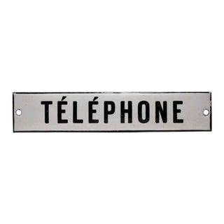 Enamel Telephone Sign For Sale