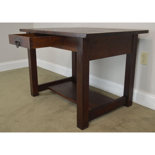 Mission Oak Antique One Drawer Table Writing Desk Possibly Stickley For Sale - Image 12 of 13