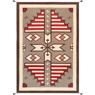 Navajo Style Hand-Woven Area Rug - 6' X 9' For Sale