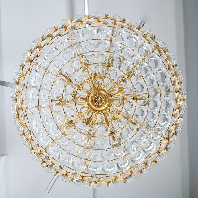 Brass Palwa Xxl Refurbished Gold Plated Brass and Glass Semi Flush Mount Lamp For Sale - Image 7 of 13