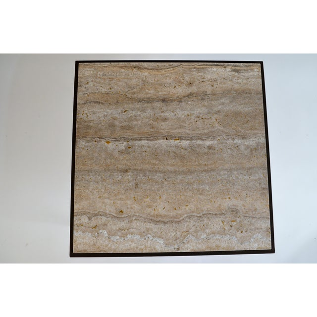 Iron Large 'Entretoise' Silver Travertine Side Tables by Design Frères - a Pair For Sale - Image 7 of 9
