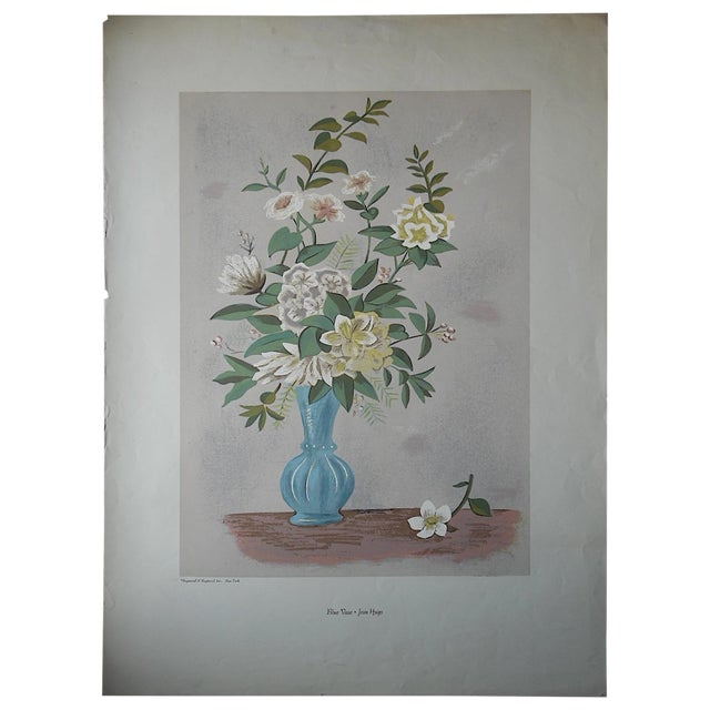 Vintage Silkscreen Blue Vase With Bouquet For Sale