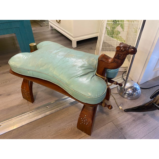 Vintage Camel Saddle Stool For Sale - Image 4 of 11