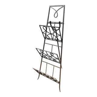Vintage Hand Wrought Iron Magazine Stand/ Rack For Sale