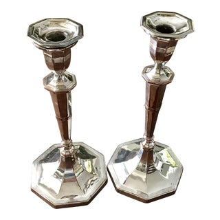 Hollywood Regency Silver Plate Candlesticks - a Pair