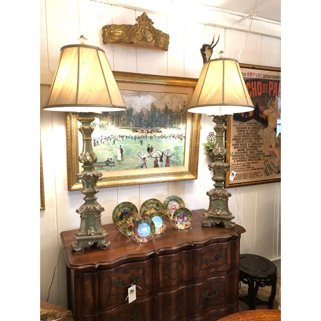 Romantic Very Tall Carved Wood and Gilded Italian Table Lamps For Sale - Image 12 of 13
