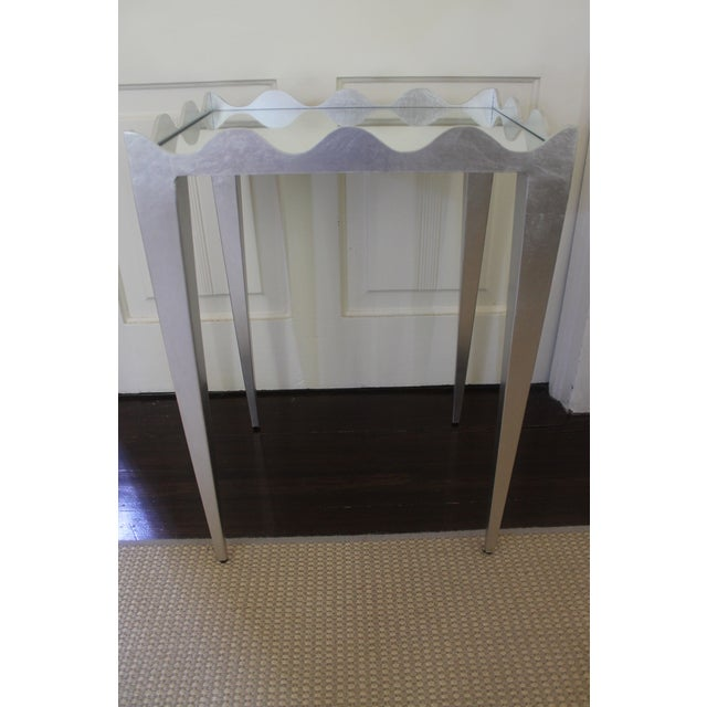 Silver Worlds Away Wave Edge Side Table For Sale - Image 8 of 10