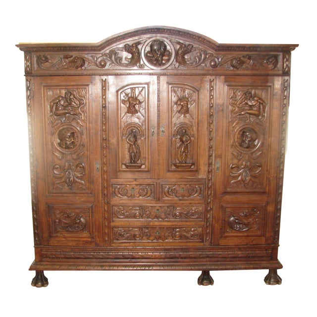 Antique Hand-Carved Italian Revival Armoire - Image 1 of 10