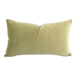 F. Schumacher Gainsborough Velvet Sage Lumbar Pillow Cover For Sale