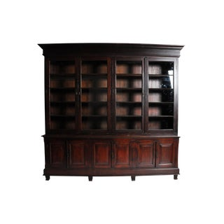 Monumental British Colonial Bookcase For Sale
