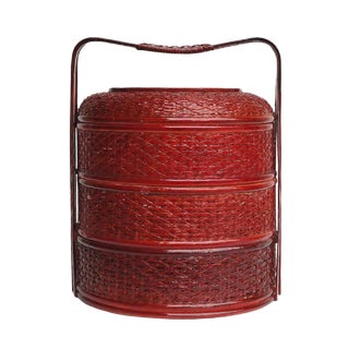 Round Shape Chinese Handmade Date Red Bamboo Strip Wedding Basket For Sale