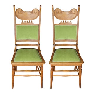 Antique Victorian Oak Side Chairs - a Pair For Sale