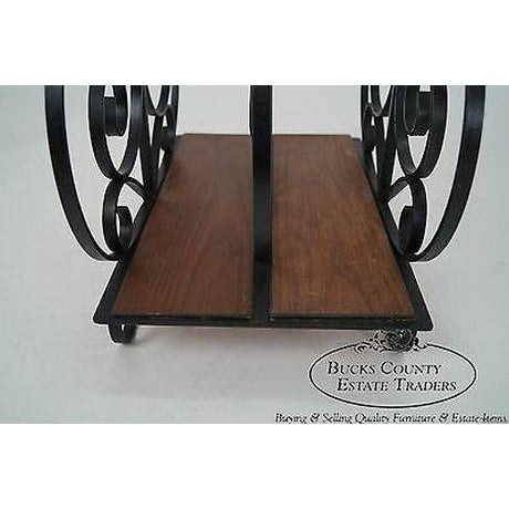 Custom Ornate Scrolled Wrought Iron Spanish Style Magazine Stand For Sale - Image 9 of 13