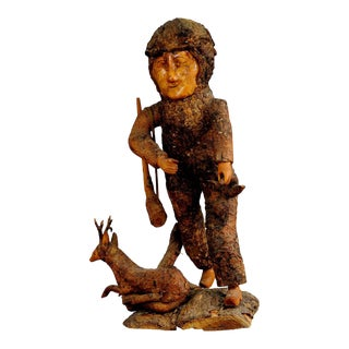 Rustic Black Forest Root Wood Hunter 1920 For Sale