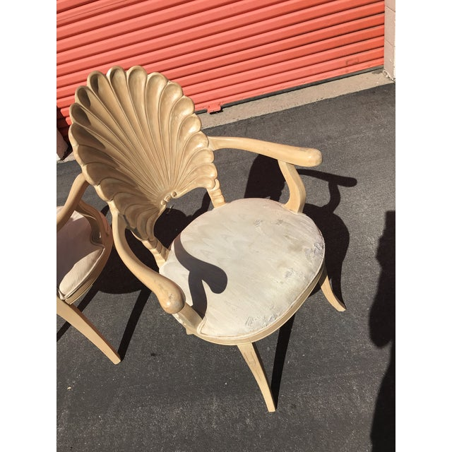 Grotto Italian Carved Wood Seashell Shell Back Dining Chair For Sale - Image 9 of 12