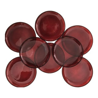 Minimalist Raspberry Red Glass Salad Plates - Set of 8