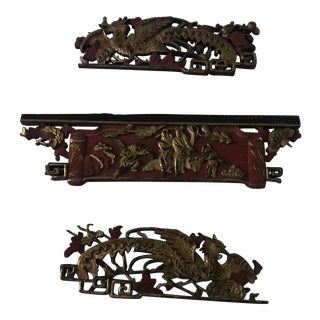 Set of 3 Asian Wood and Gold Leaf Carvings For Sale
