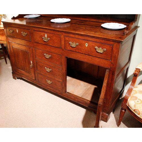 A Fine Ca. 1800-1820 Welsh Dresser of Substantial Form, Composed of an Enclosed Oak Cabinet Below, Surmounted by a Shelved...