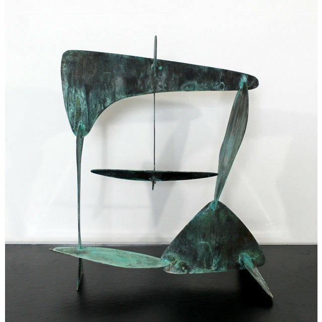 Metal Mid Century Modern Brutalist Copper Metal Abstract Table Sculpture 1970s For Sale - Image 7 of 7