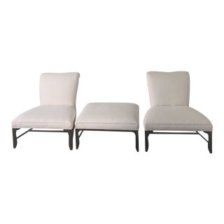 Baker Furniture Slipper Chairs and Ottoman - Set of 3 For Sale