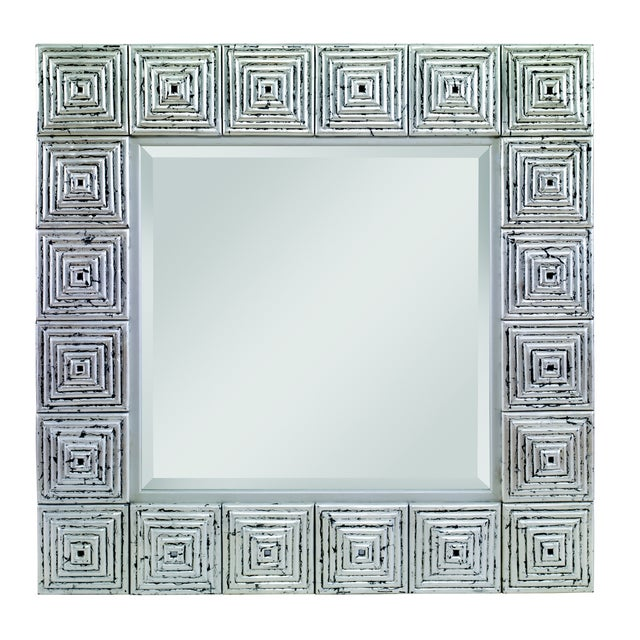 Transitional Century Furniture Silver Leaf Mirror (C415-005) For Sale - Image 3 of 3