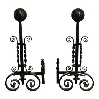 Vintage Hand Forged Pair Andirons For Sale