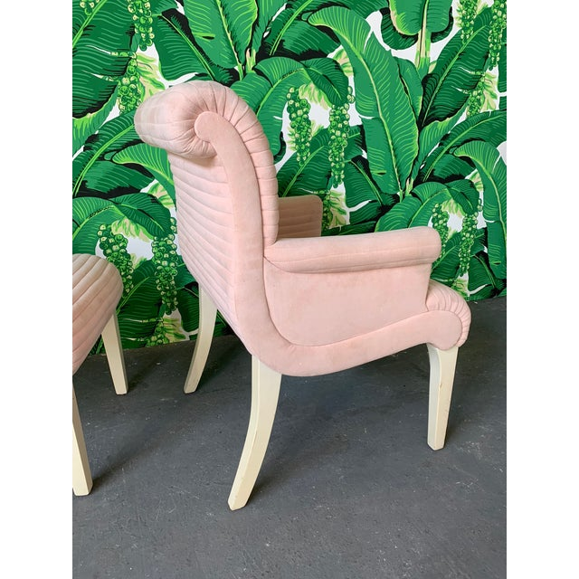 Fabric Set of Six Sculptural Pink Tufted Dining Chairs For Sale - Image 7 of 11