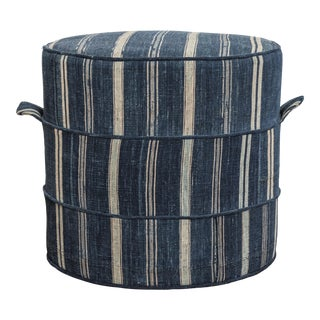 Blue and White Striped Moroccan Ottoman or Footstool