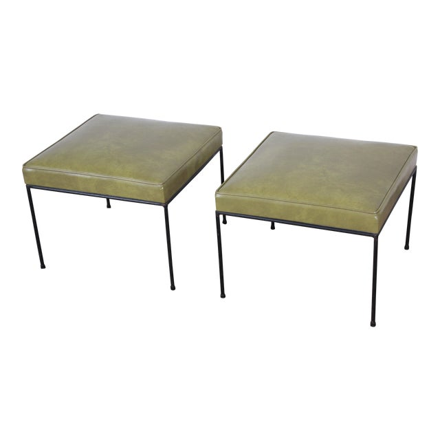 Paul McCobb Upholstered Iron Stools or Ottomans, Pair For Sale