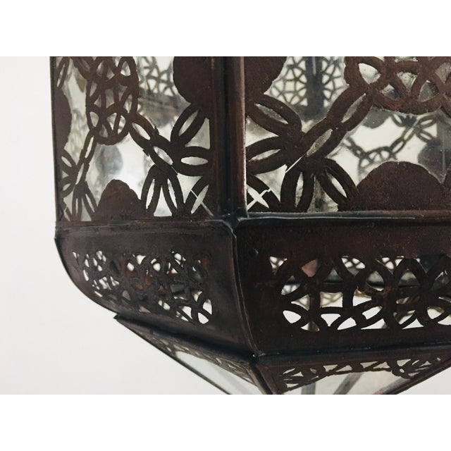 Moroccan Light Fixture in Moorish Design Clear Glass and Metal Filigree For Sale - Image 10 of 12